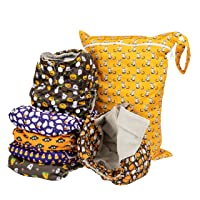 Simple Being Reusable Cloth Diapers- Double Gusset-6 Pack Pocket Adjustable Size-Waterproof Cover-6 Inserts-Wet Bag (Halloween)