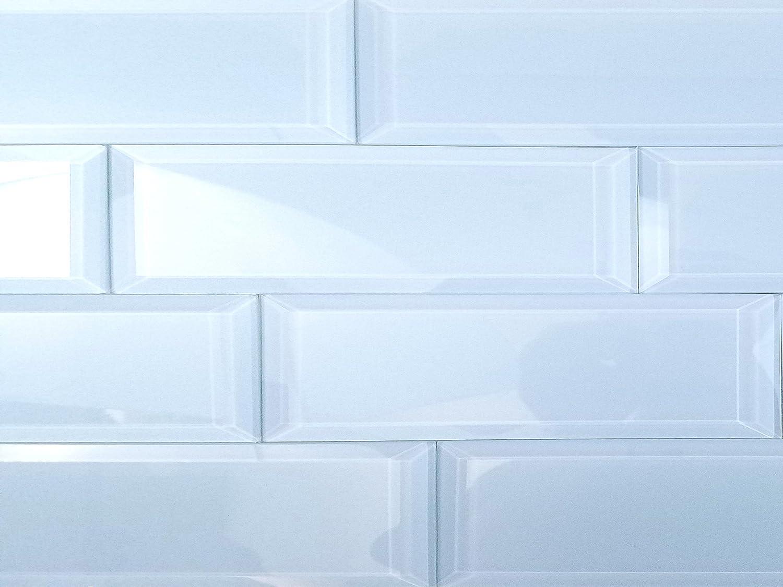 Amazon.com: Abolos Creme Glossy Beveled Glass Subway Tile Kitchen ...