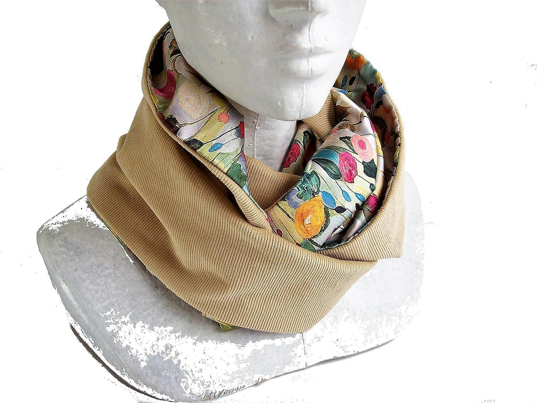 snood femme ivoire et fleurs pastel , tour de cou , écharpe infinie en velours et satin a fleurs