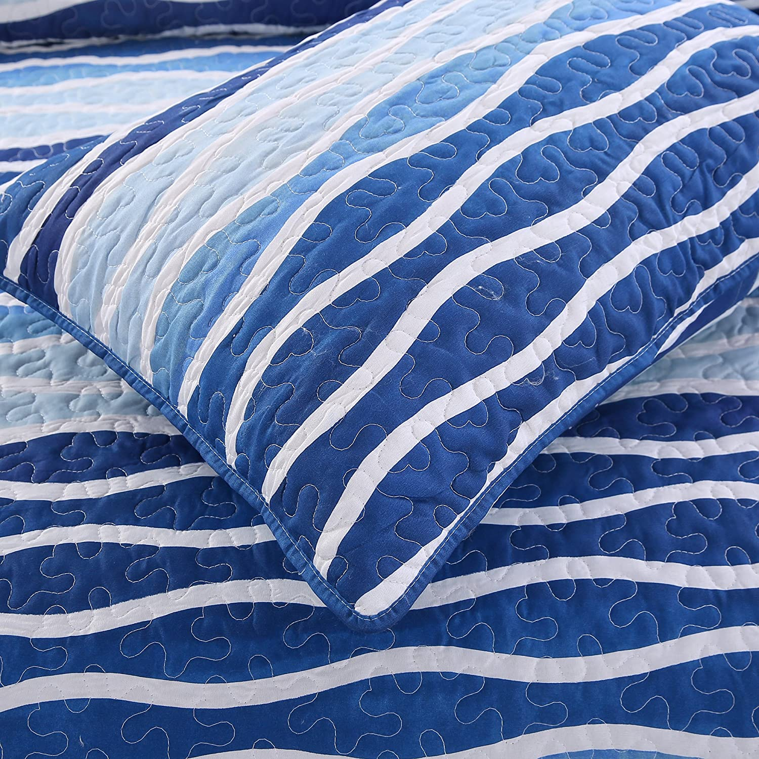with 2 Shams Pre-Washed All-Season Machine Washable Bedspread Coverlet SLPR Day at The Cape 3-Piece Lightweight Printed Quilt Set Queen