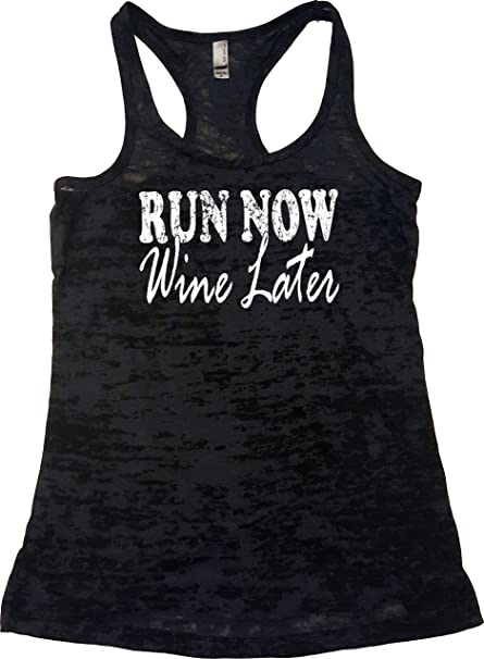 68487e13e4394 Amazon.com  Orange Arrow Womens Workout Tank - Run Now Wine Later - Burnout  Tops With Sayings  Clothing