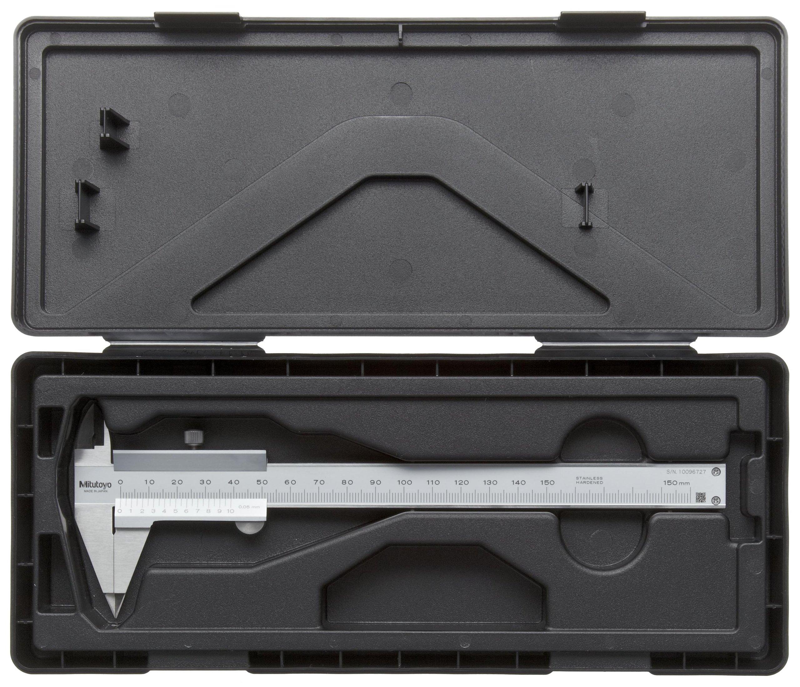 Mitutoyo 536-121 Vernier Caliper, Stainless Steel, Narrow Tip Jaw, 0-150mm Range, +/-0.05mm Accuracy, 0.05mm Resolution