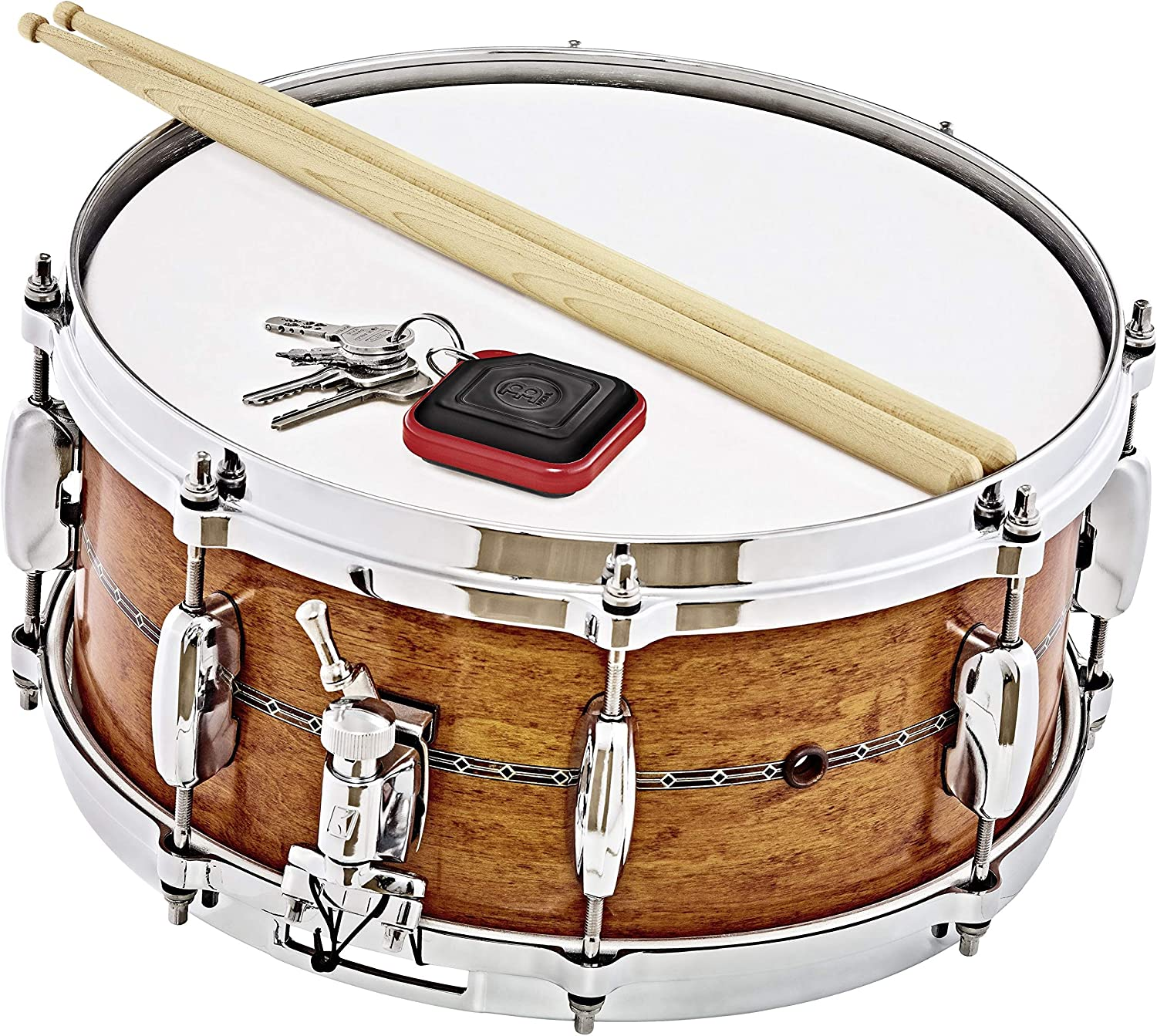KRT-R Red-NOT MADE IN CHINA-Perfect for Jam Sessions and Acoustic Shows Meinl Key Ring Tambourine with Steel Jingles and Strudy ABS Plastic