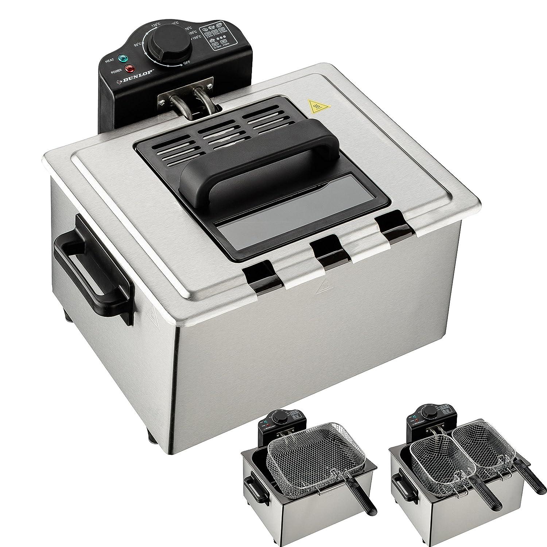 Dunlop doble de freidora | Premium frittiergerät con extraíble ölbehälter | cesta de freír de acero inoxidable | Tecnología de zona fría | Termostato ...