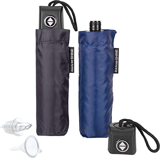 GoPong Rain or Shine Umbrella Flask 2 Pack - Hidden Alcohol Booze Bottles, Includes Funnel and Liquor Bottle Pour Spout