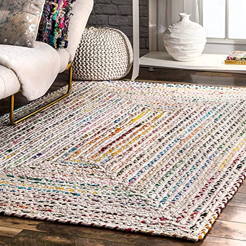 Hand Braided Bohemian Colorful Cotton Area Rug Ivory 9' x 12'