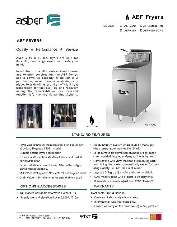 Amazon.com: Fryer, natural gas, floor model, 50 lb. capacity, (3) 38,000 BTU burners, millivolt controls, Asber AEF-4050 S: Kitchen & Dining