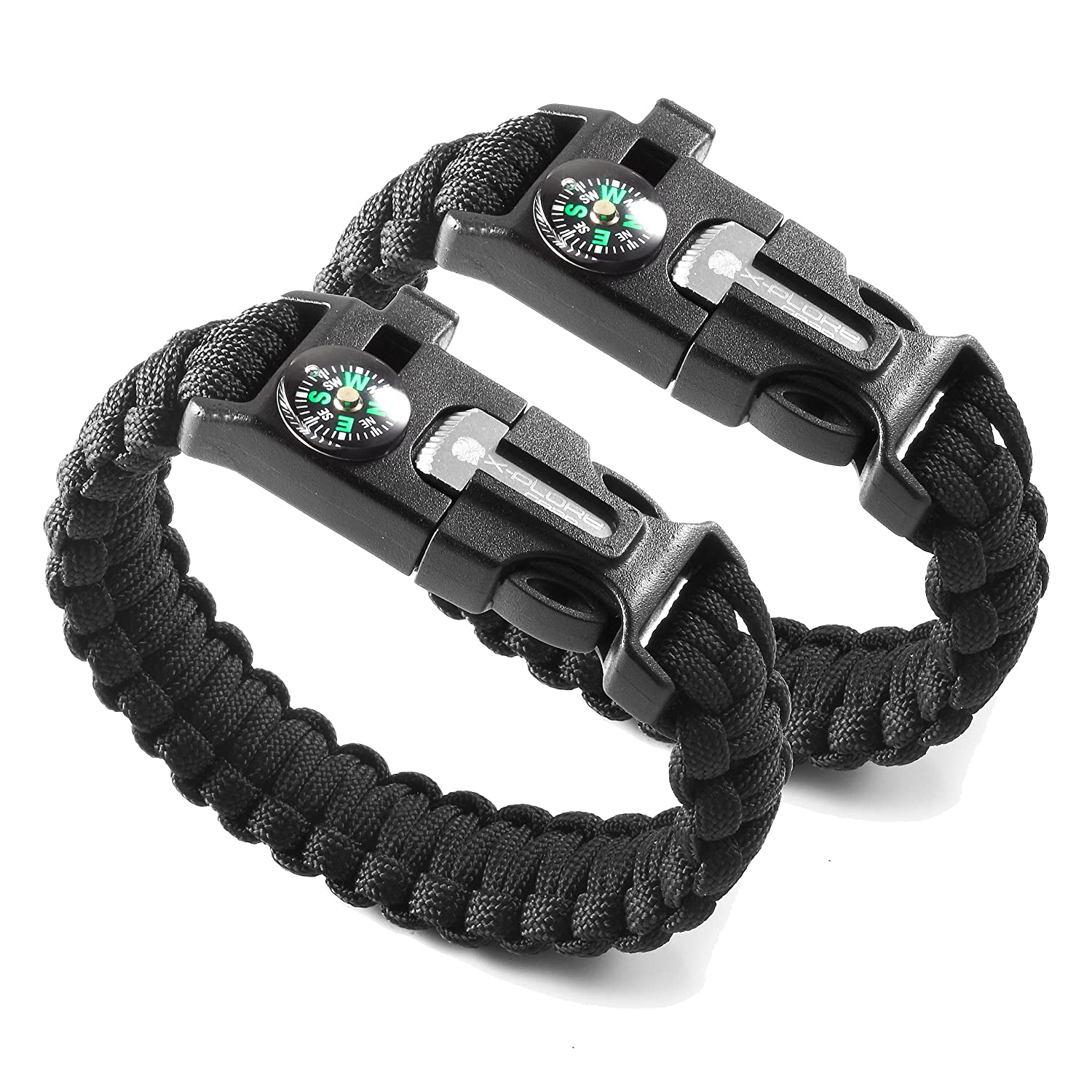 Compass /& Scraper Whistle X-Plore Gear Emergency Paracord Bracelets Best Wilderness Survival-Kit for Camping//Fishing /& More Set of 2| The Ultimate Tactical Survival Gear| Flint Fire Starter
