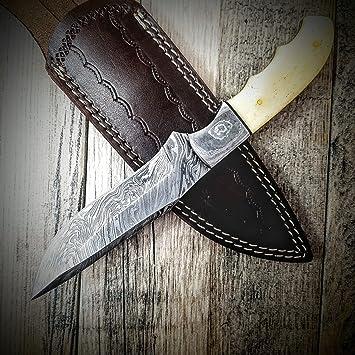 Amazon.com: htn-6g estriado caza cuchillo (acero de Damasco ...