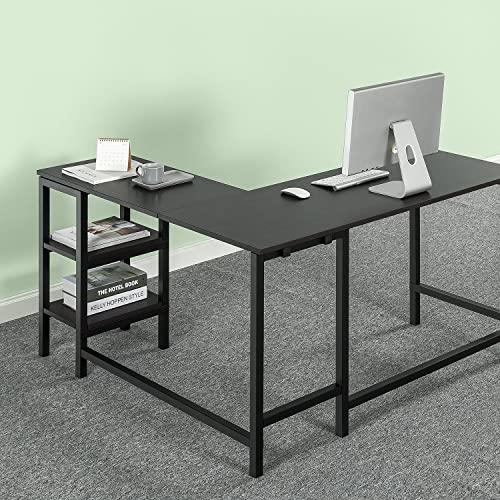 Zinus Luke L-Shaped Corner Computer Desk Workstation Home Office with Storage Shelves