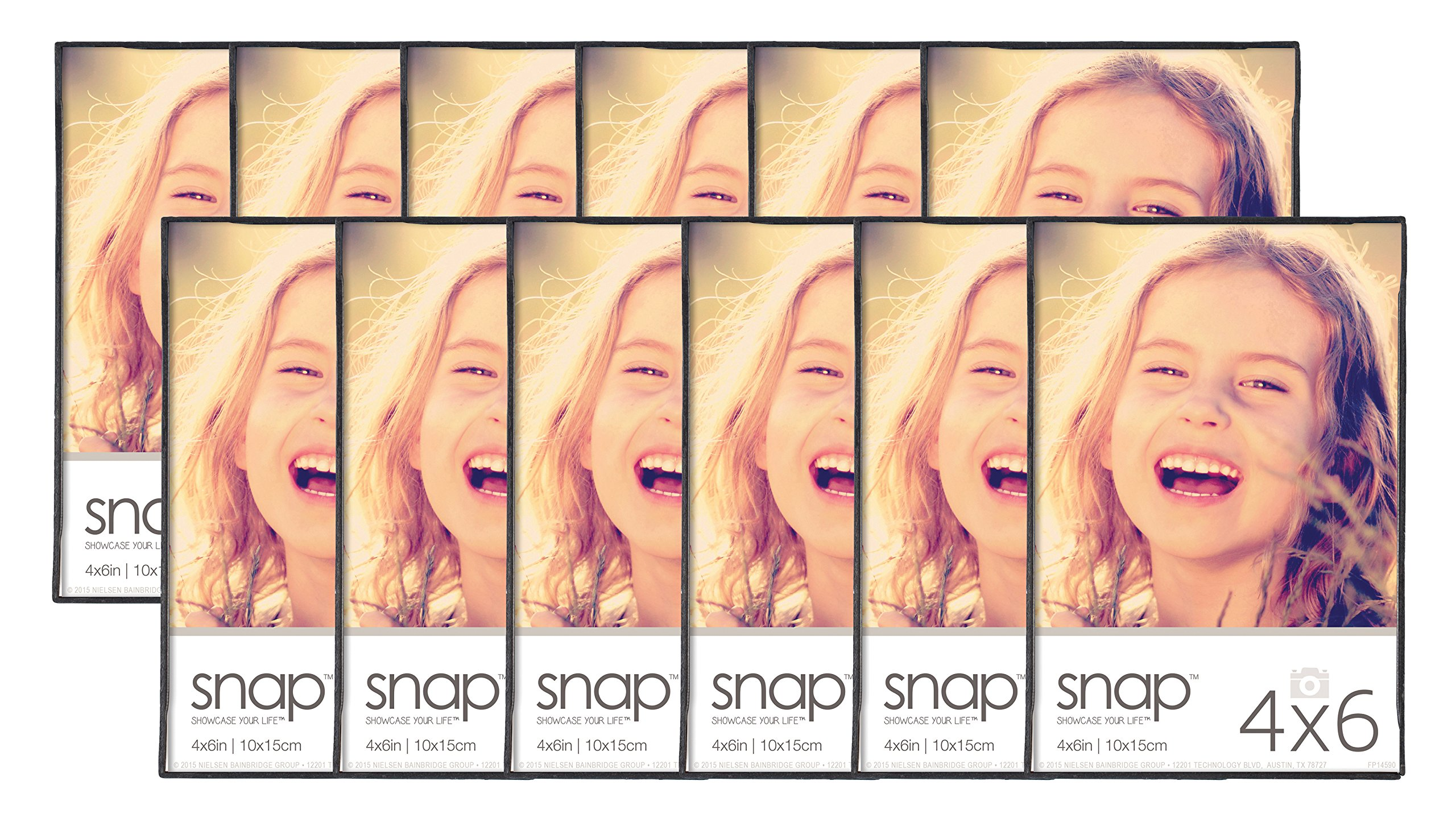 Snap 4x6 Front Loading Narrow Photo Frame, Set of 12, For Wall or Tabletop Display by Snap
