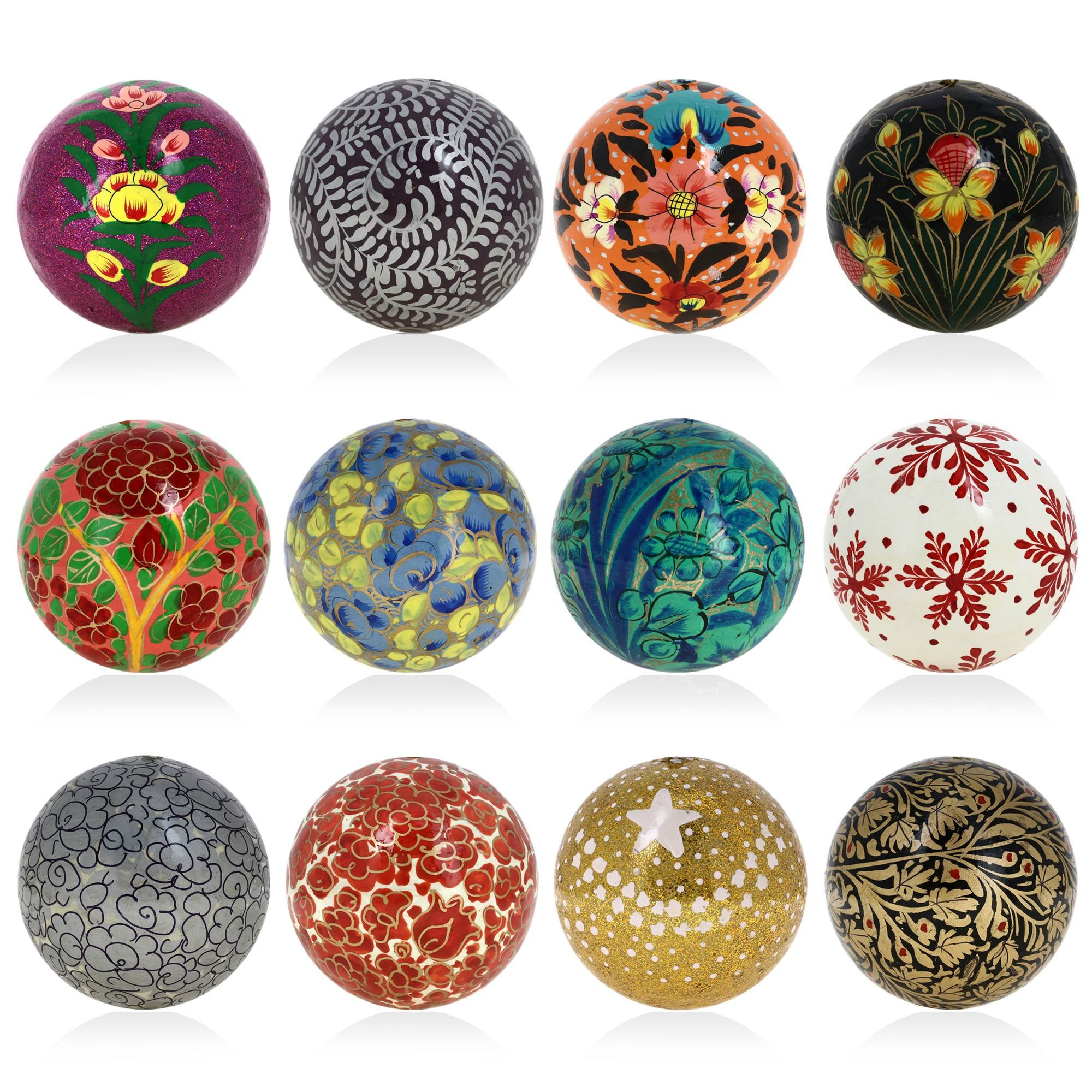 Decor Christmas Ornaments Hanging Handmade Paper Mache Balls 3 Inch Set of 12