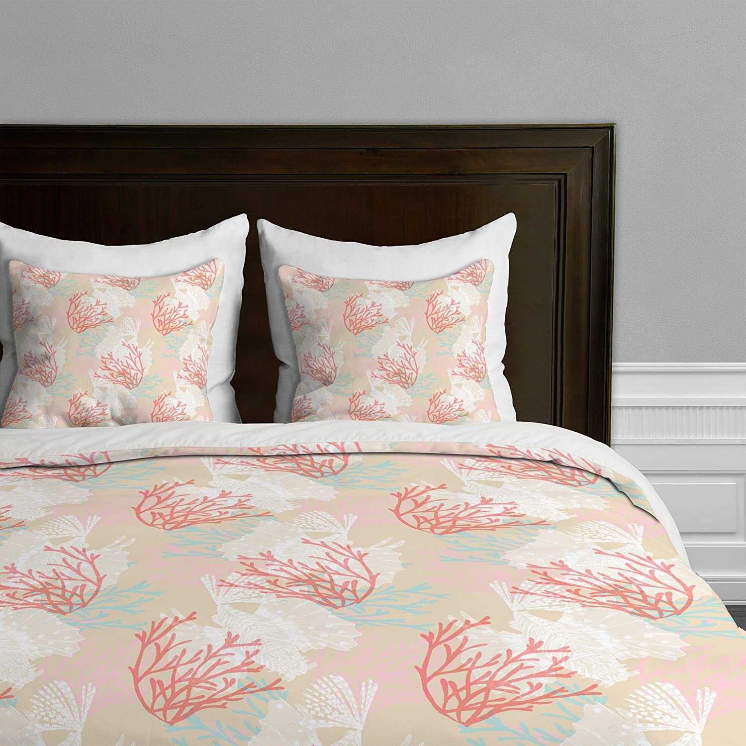 Tiger Fish Pink King Deny Designs  Aimee St Hill Big Leaves bluee Duvet Cover, Queen