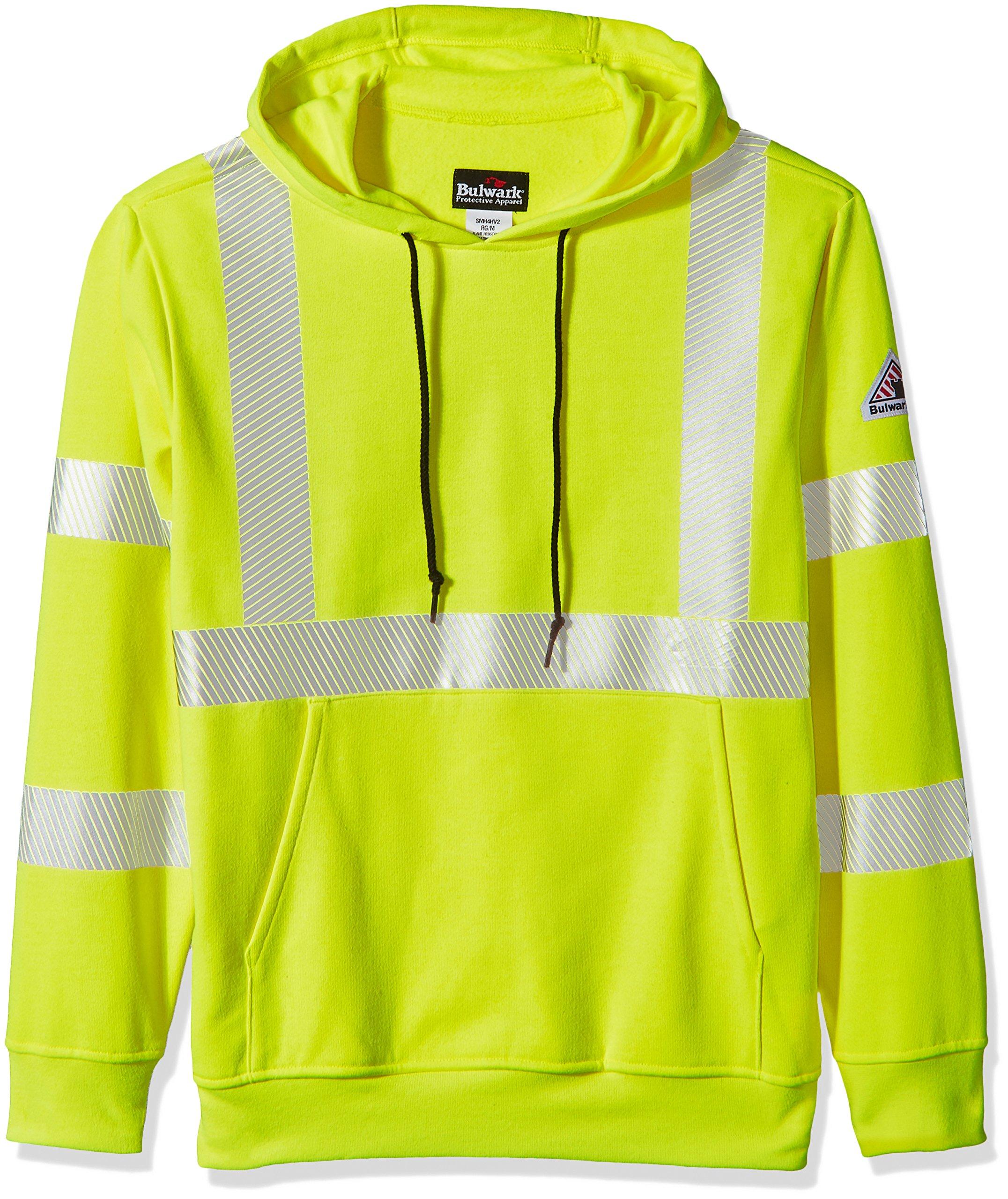 Bulwark Men's Hi-Visibility Pullover Hooded Fleece Sweatshirt, Yellow/Green, X-Large