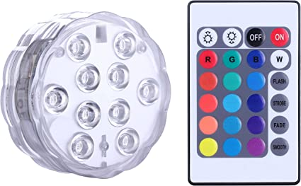 4PCS Swimming Pool Light RGB LED Bulb Remote Control Underwater Color Vase