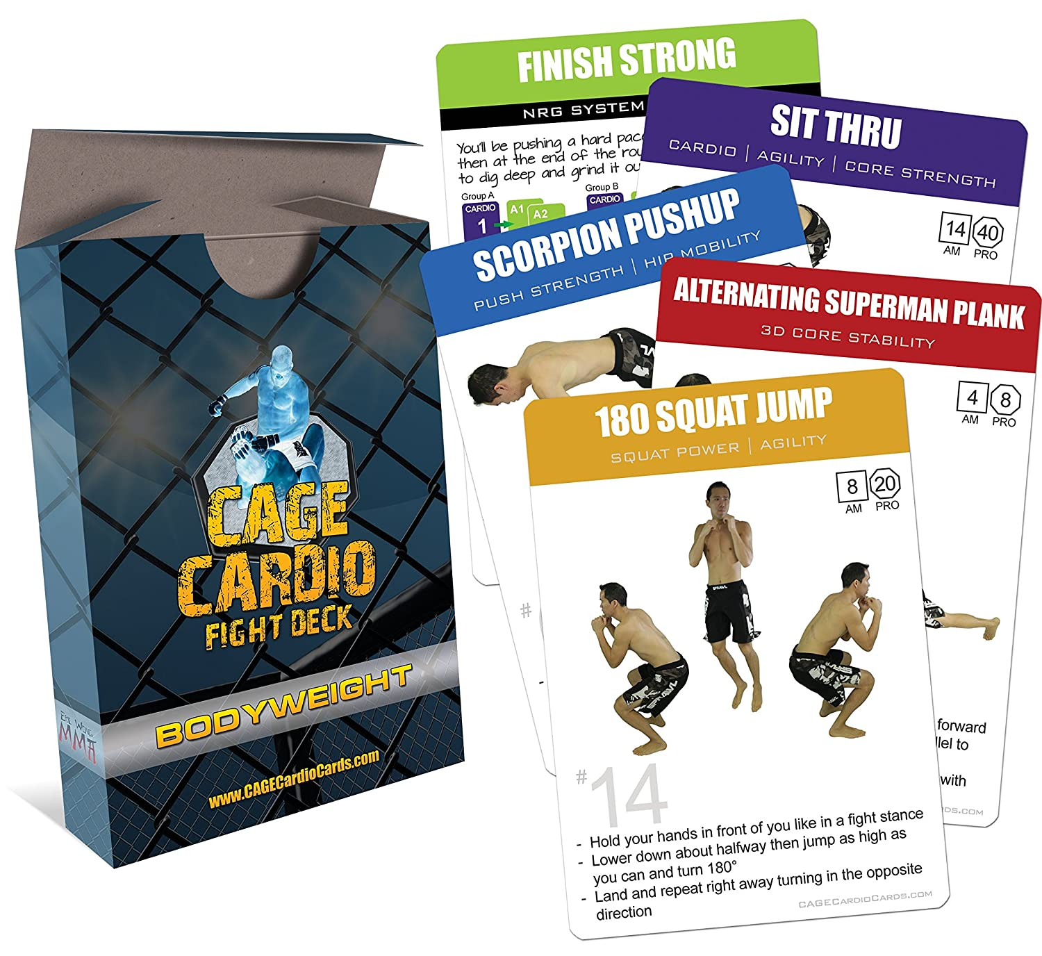 amazon com cage cardio bodyweight fight deck workout cards for