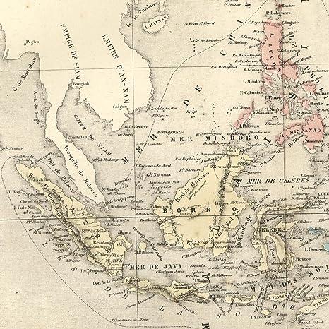 Map Of Asia Indonesia.Amazon Com Indonesia Malaysia Borneo Sumatra Asia 1855 Dufour Old