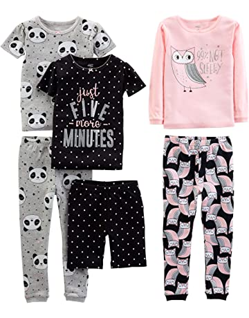 Bricnat Girl/'s Unicorn Pattern Organic Cotton Short Sleeve Pajamas Children Two-Piece Pajama Set 2-10 Years