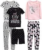 Simple Joys by Carter's Girls' Toddler 6-Piece Snug Fit Cotton Pajama Set, Owl/Panda/Dot, 5T