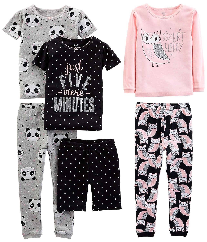 Pijamas enteros - para beb/é ni/ña Juego de pijama de algod/ón de ajuste c/ómodo de 6 piezas Simple Joys by Carters
