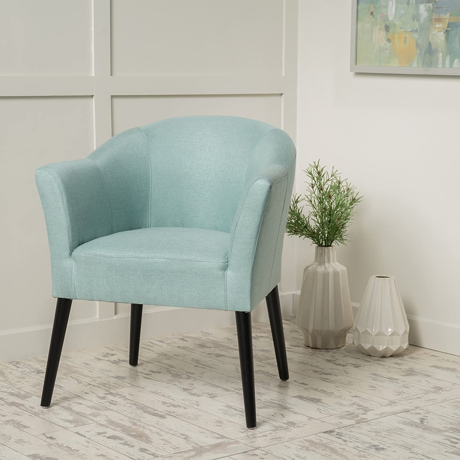 Charmaine Light Blue Fabric Arm Chair