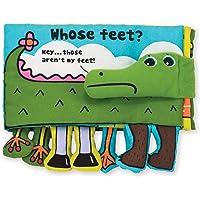 Melissa & Doug Libro suave de actividades - ¿Los pies de quién?, juguetes de desarrollo, texto fácil de leer, pies colgantes, lavable a máquina, 17.78 cm alto x 25.4 cm ancho x 4.445 cm largo
