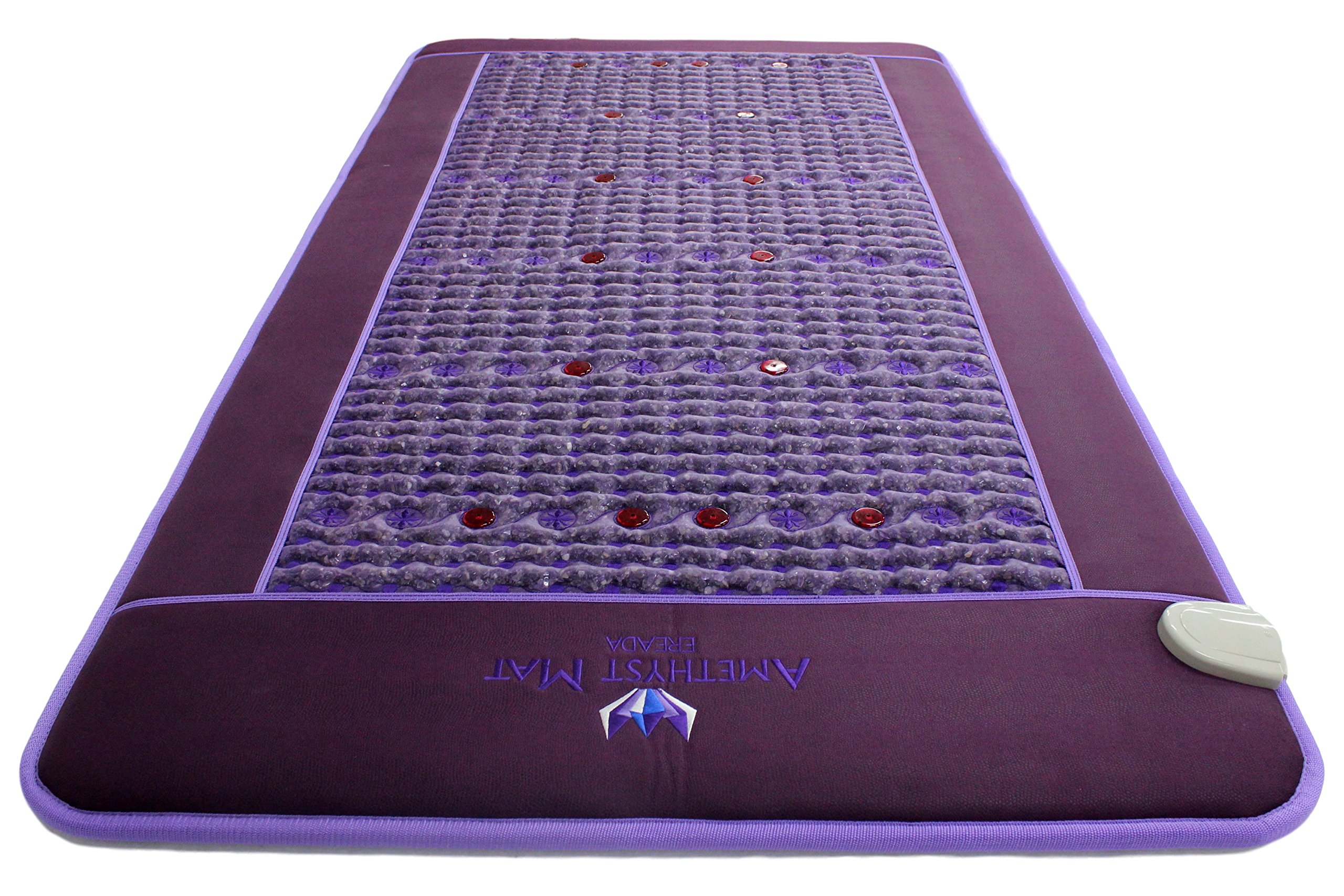 Far Infrared Amethyst Mat - FIR Heat - Bio Magnetic Field - PEMF - Negative Ions - Red Light Photon Therapy - Natural Amethyst - FDA Registered Korean Manufacturer - Purple (Single (XL) 75''L x 39''W) by Bio Amethyst (Image #8)