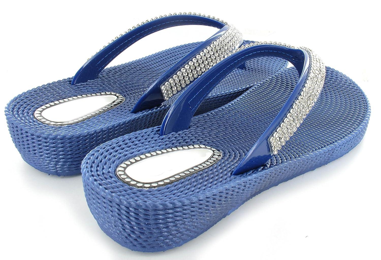 para verano Sandalias chanclas playa tallas 36-41 zapatillas de cu/ña con dedo separado y diamantes de imitaci/ón para mujer c/ómodas