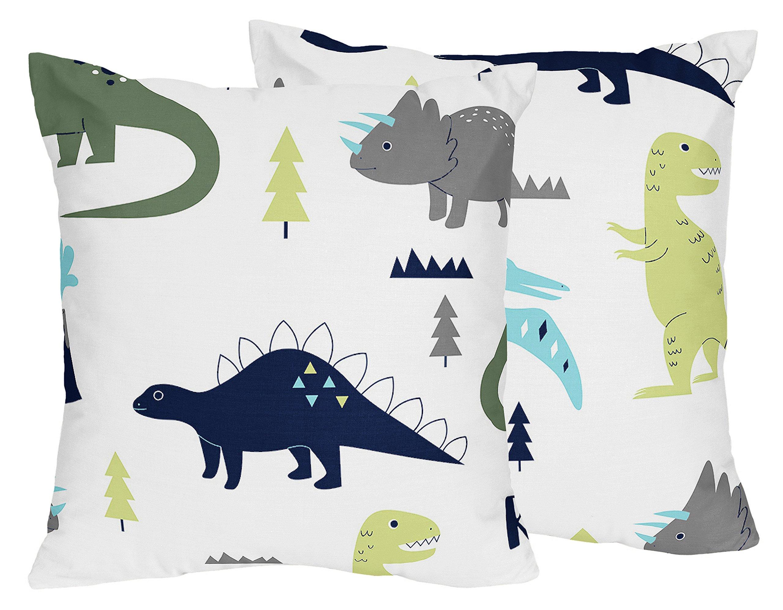 Sweet Jojo Designs 2-Piece Blue and Green Modern Dinosaur Decorative Accent Throw Pillows