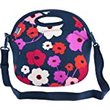BUILT NY Spicy Relish Neoprene Lunch Bag with Adjustable Crossbody Strap, Lush Flower