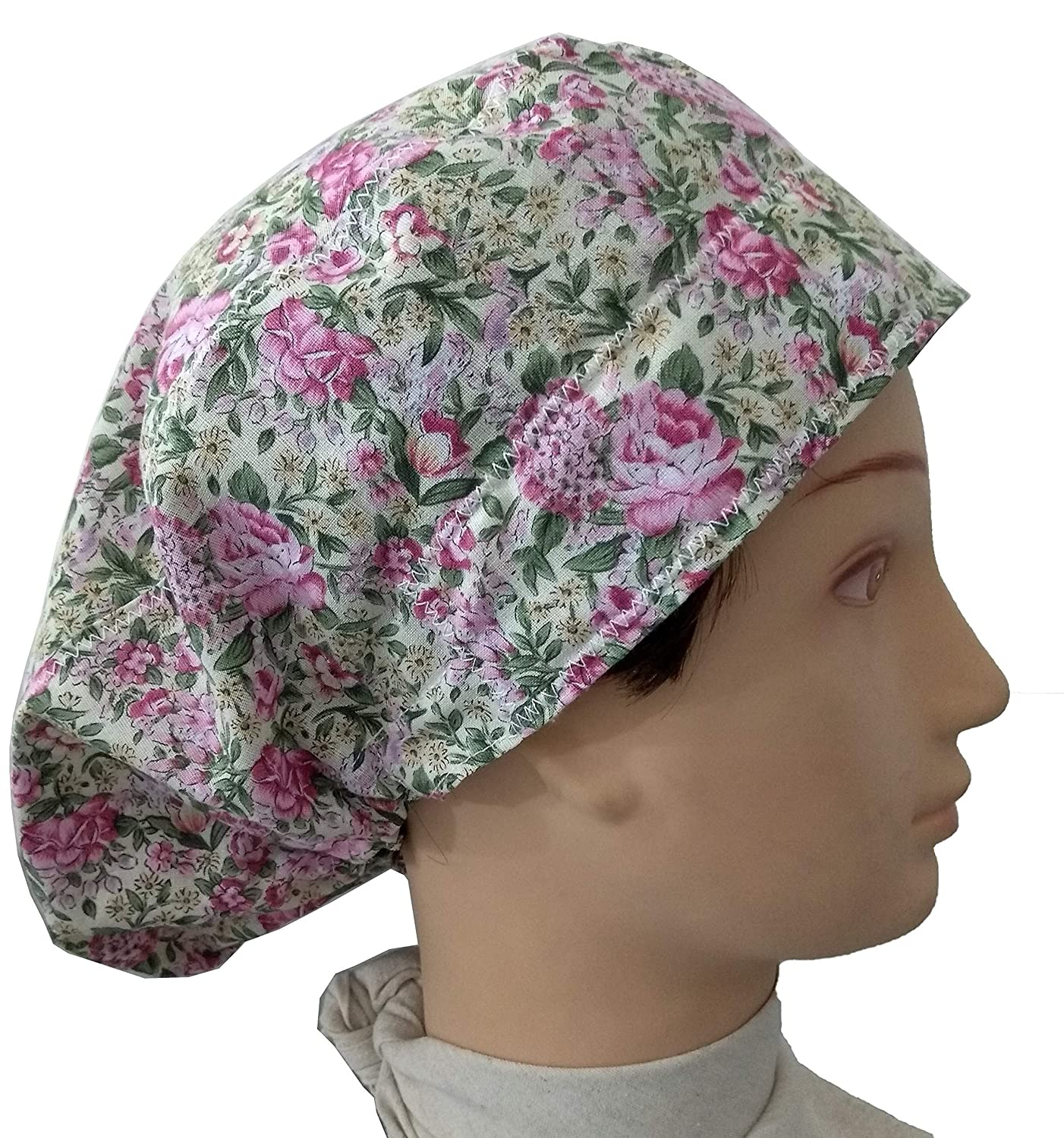 Surgery Spring flowers for long hair with sweatband y ajutable to your liking dentist Kitchen Scrub hat theatre cap Veterinary Nurse
