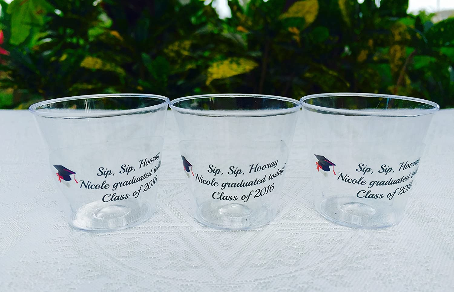 Amazon com 50 personalized 1oz plastic shot cups for graduation party or event clear decoration disposable cups makes great party favors or supply