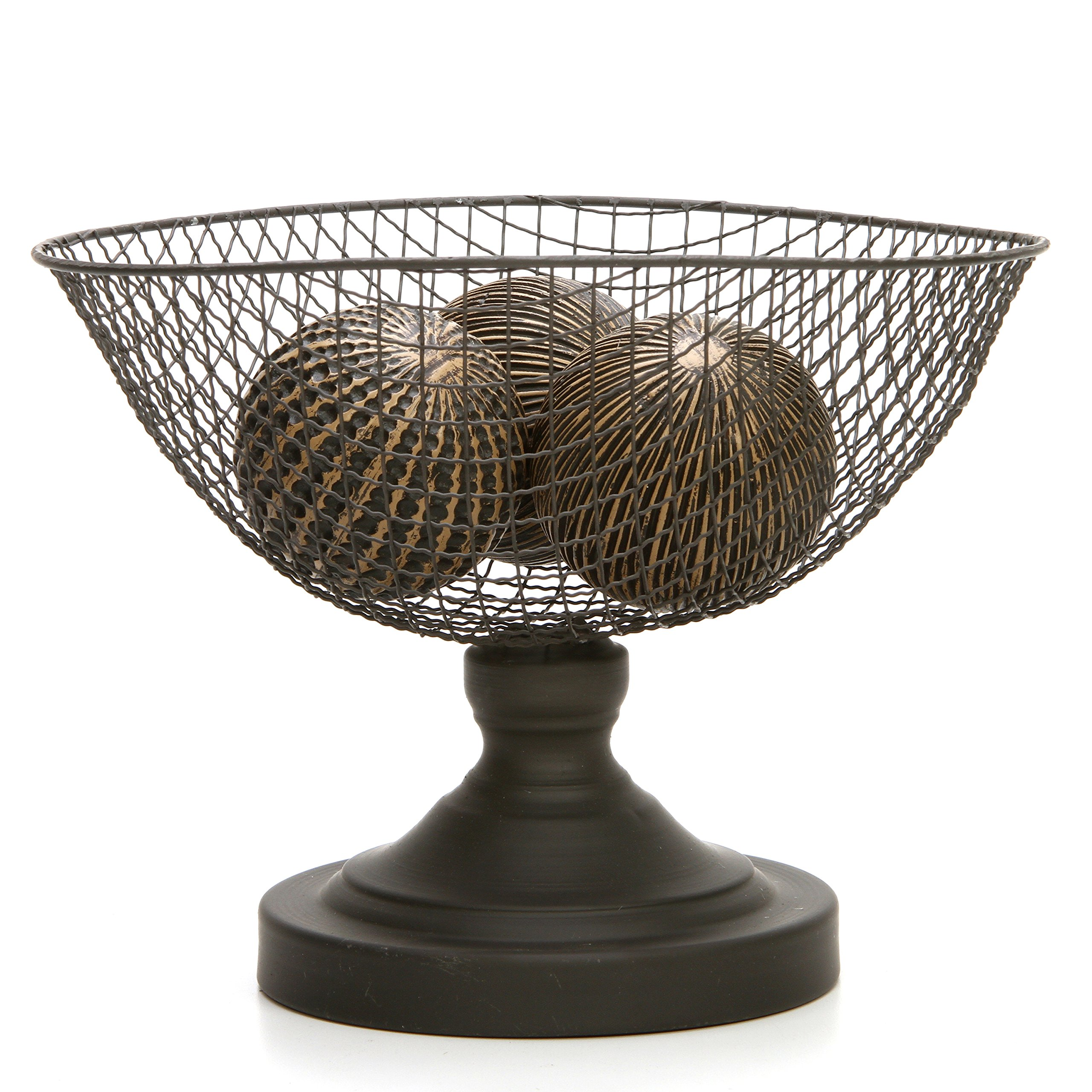 Hosley Wire Mesh Decorative Pedestal Basket/Bowl. Ideal Gift for Wedding, Bridal, and Use for Orbs, Spa, Aromatherapy, Reiki, Chakra, Votive Setting O6