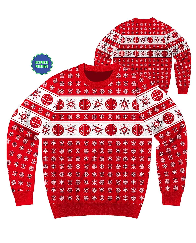 Marvel Deadpool Flakes Ugly Sweater Christmas Edition Crewneck Sweatshirt XX-Large Mad Engine 8.8635E+11