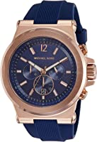 Michael Kors Men's Rose Goldtone Dylan Watch with Navy Silicone Strap