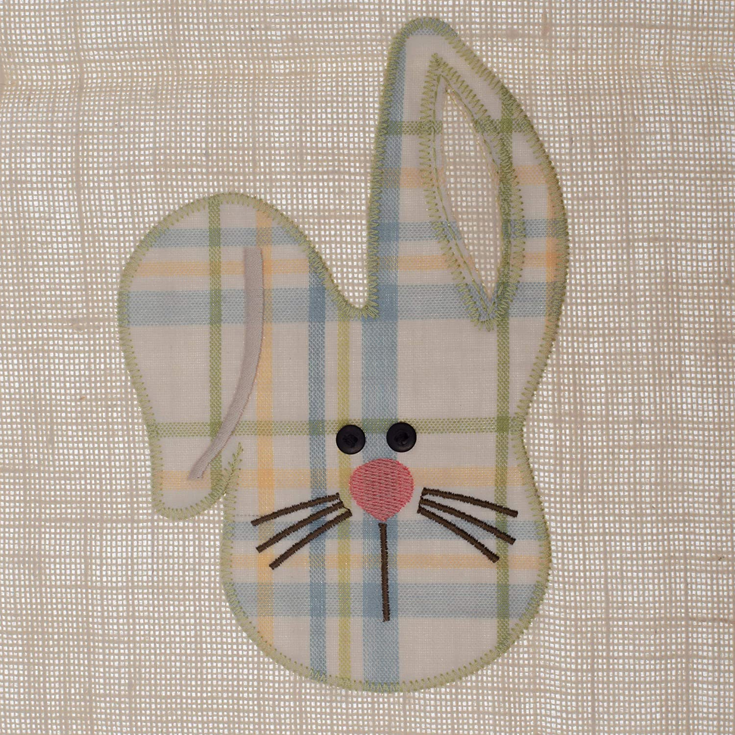 PKD Spring Bunny Head Pastel Plaid 42 x 14 Embroidered Fabric Easter Table Runner Park Designs 507-12B