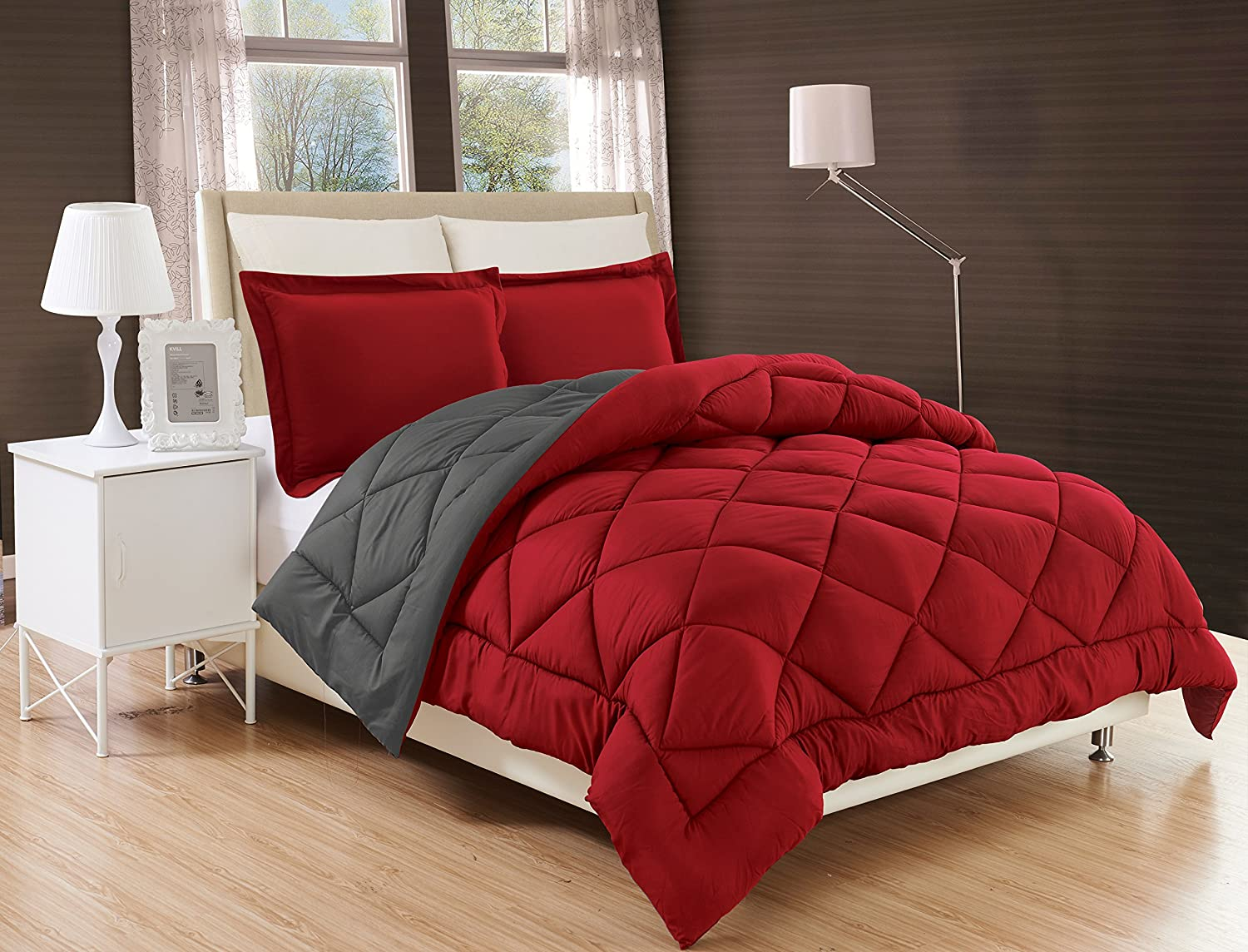 Alternative Reversible 2-Piece Comforter Set, Twin/Twin XL, Burgundy/Grey