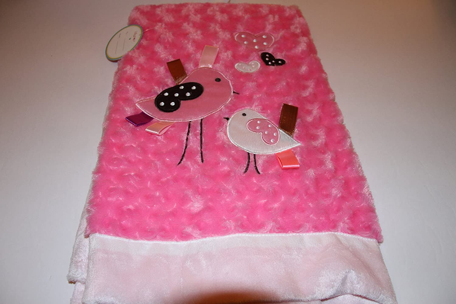 Lollypop Soft & Cozy Hot Pink Rosette Baby Blanket with Bird Applique 30x40 Lollipop