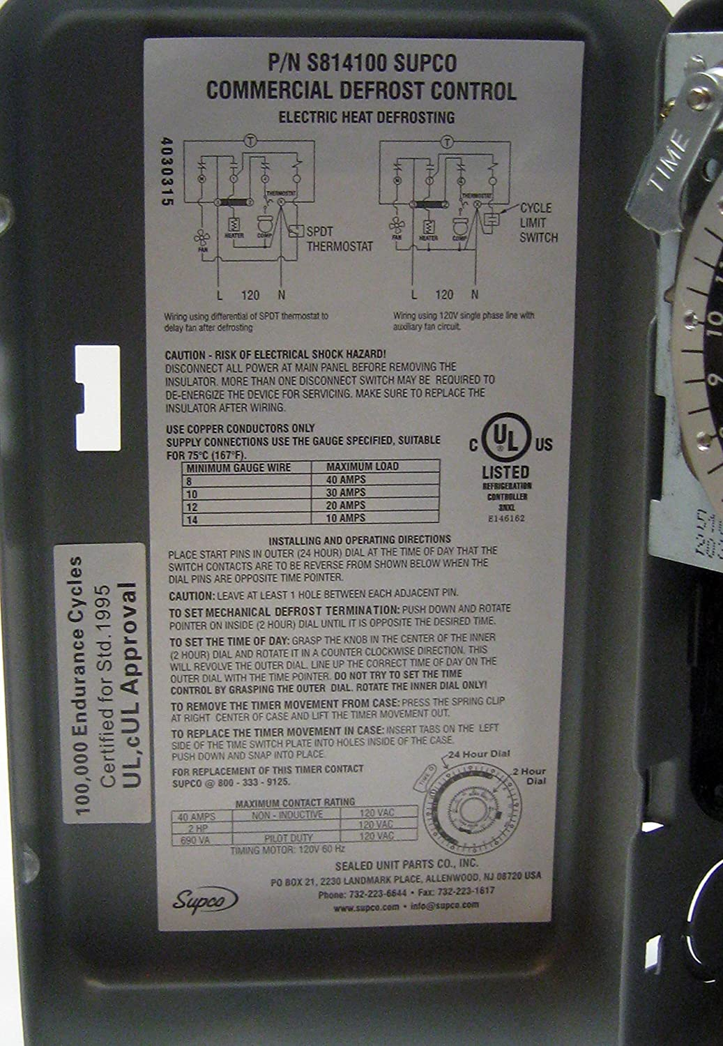 91cj992zkvL._SL1500_ amazon com supco s8141 00 complete commercial defrost timer commercial defrost timer wiring diagram at n-0.co