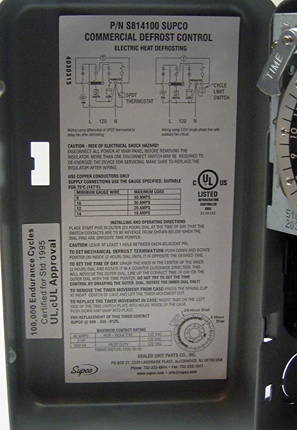 91cj992zkvL._SY886_ amazon com supco s8141 00 complete commercial defrost timer paragon 8145 00 wiring diagram at soozxer.org