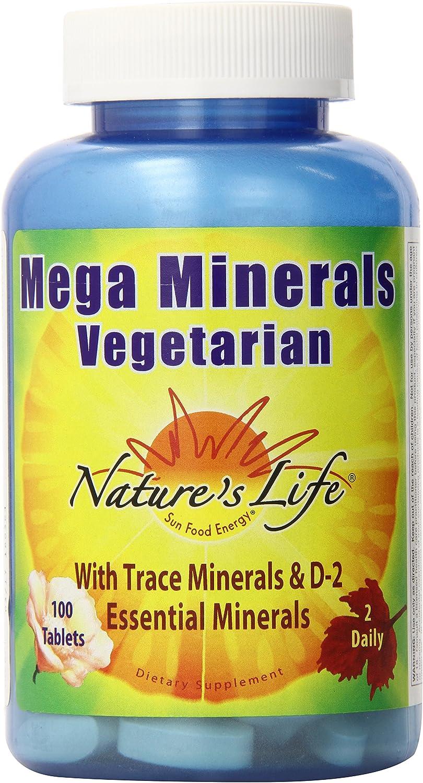 Nature's Life Minerals Tablets, Mega, Veg, 100 Count