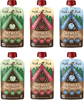 product image for Munk Pack Oatmeal Fruit Squeeze Pouch, Variety Pack, 4.2 oz, 6 Pack