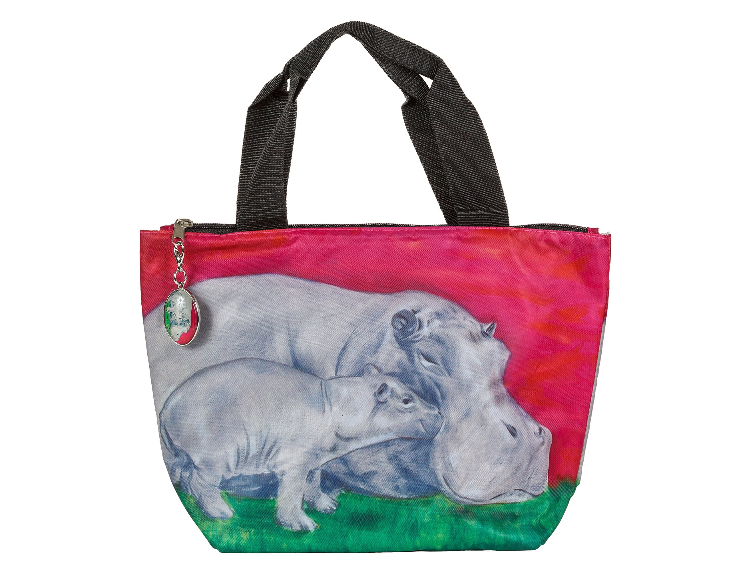 Hippo Lunch Bag, Lunch Tote with Matching Zipper Charm - Animals, Full Insulated