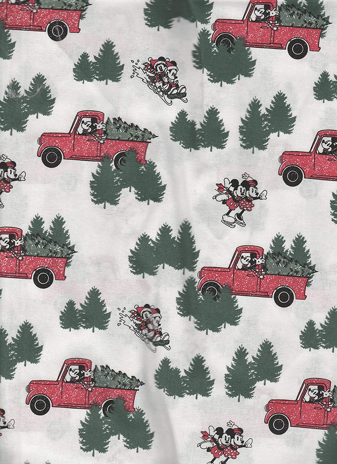 Amazon Com Minnie Mickey Mouse Christmas Red Truck Fabric Window Curtain Topper Valance Handmade