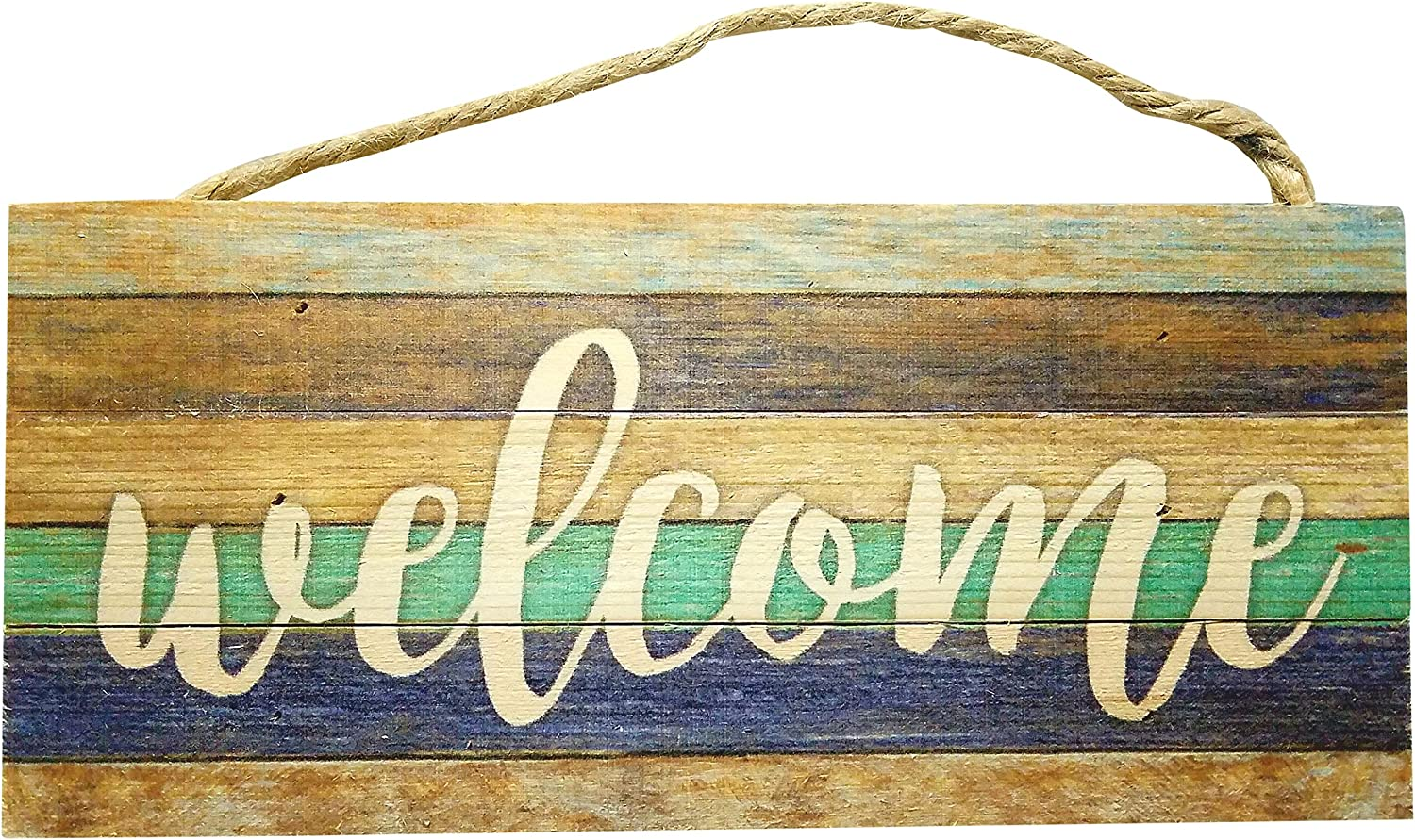 California Seashells Beach Welcome Sign - Rustic Wood Hanging Decor for The Front Door, 10 inch