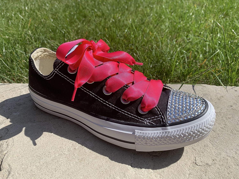 Cordones para zapatos con lazo de color rosa o azul marino para Converse altas y bajas con logotipo de Pimp My Shoes en los herretes