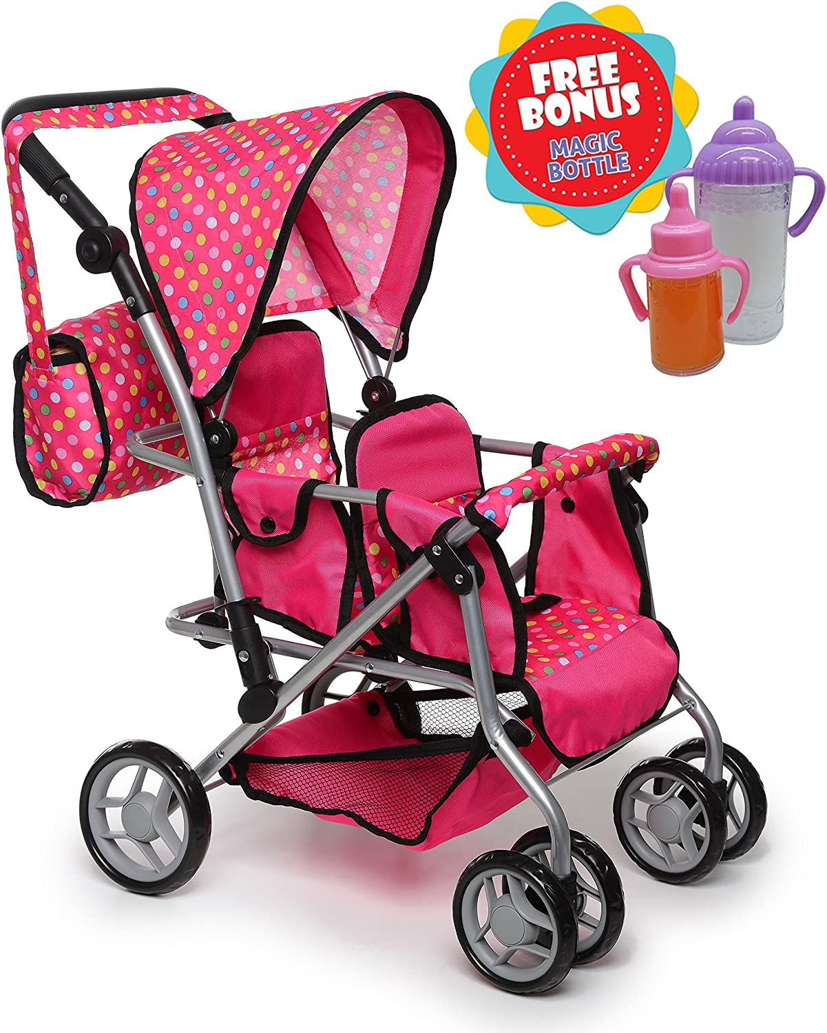 Exquisite Buggy, Twin Doll Stroller with Diaper Bag and Swivel Wheels & Adjustable Handle - Pink & Polka DOTS Design with 2 Free Magic Bottles