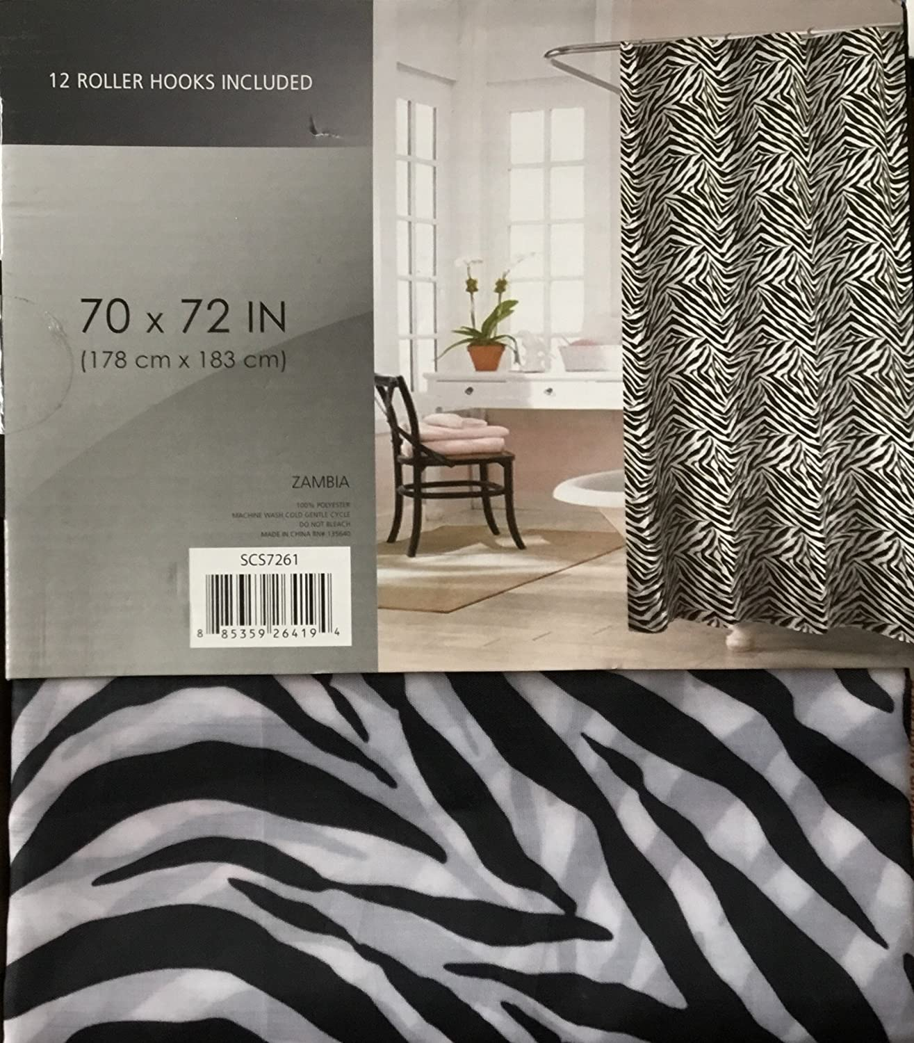 Amazon Zambia Black White Zebra Printed Canvas Shower Curtain 70 X 72 With 12 Roller Hooks Home Kitchen