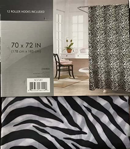 Zambia Black White Zebra Printed Canvas Shower Curtain 70 X 72 With 12