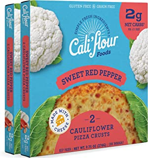 product image for Cali'flour Foods Pizza Crust (Sweet Red Pepper, 2 Boxes, 4 Crusts) - Fresh Cauliflower Base | Low Carb, High Protein, Gluten and Grain Free | Keto Friendly